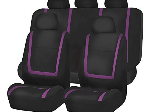 FH GROUP FH-FB032115 Unique Flat Cloth Seat Cover w. 5 Detachable Headrests and Solid Bench Purple / Black- Fit Most Car, Truck, Suv, or Van