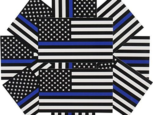 In Support of Police and Law Enforcement Officers 10-pack – Thin Blue Line Flag Decals – 3×5 in. Black, White, and Blue American Flag Stickers for Cars and Trucks