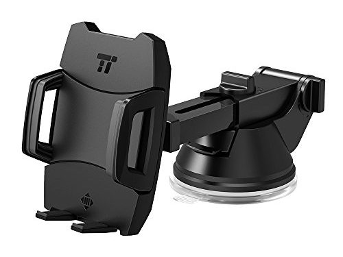 Phone Holder for Car, TaoTronics Car Phone Mount, Car Mount, Car Phone Holder with One-button Release Flat Suction Cup, Improved Usability, for iPhone, Galaxy, Nexus, and Other Popular Smartphones
