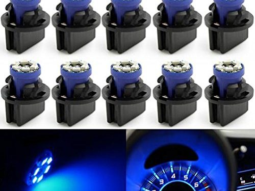 Partsam T10 194 LED Light bulb 168 LED Bulbs Bright Instrument Panel Gauge Cluster Dashboard LED Light Bulbs Set 10 T10 LED Bulbs with 10 Twist Lock Socket – Blue