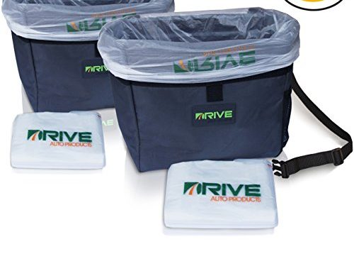 Car Garbage Can 2-Pack by Drive Auto Products from The Drive Bin As Seen On TV Collection, Black Strap