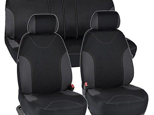 BDK Charcoal Trim Black Car Seat Covers with Split Option Bench, 5 Headrests Front & Rear Bench, 9pc Set