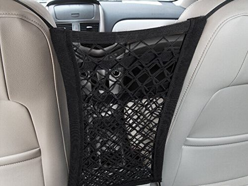 Mesh Cargo Net Hook Pouch Holder for Purse Bag Phone Pets Children Kids Disturb Stopper – MICTUNING Upgraded 2-Layer Universal Car Seat Storage Mesh/Organizer