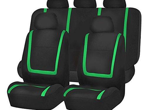 FH GROUP FH-FB032115 Unique Flat Cloth Seat Cover w. 5 Detachable Headrests and Solid Bench Green / Black- Fit Most Car, Truck, Suv, or Van