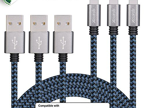 XcordsTM 3Pack 10FT Lightning to USB Cable with 8 Pin Connector Compatible with iPhone 7/7 Plus/6/6 Plus/6s/6s Plus /5/5s/5c/iPad/iPod and MoreBlack&Blue