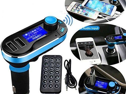 5in1 Wireless Bluetooth Car Music Player FM Transmitter Dual USB Car Charger Support SD/TF Card Music Control Hands-Free Calling for iPhone Samsung Galaxy HTC, LG ,Sony Tablets Mp3 Mp4 Player Blue