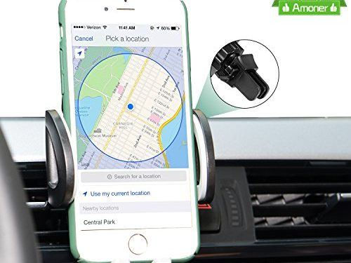 Amoner 360 Degree Rotation with Quick Release Button Universal Car Air Vent Mount Holder for iPhone 7/7 Plus,6s/6 Plus/6/5s/5c ,Samsung Galaxy S7 S6/LG/Sony/Nokia/Nexus and More-Black