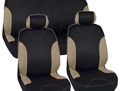 Sleek & Stylish – Split Option Bench 5 Headrests Front & Rear Bench – Tan Trim Black Car Seat Covers Full 9pc Set