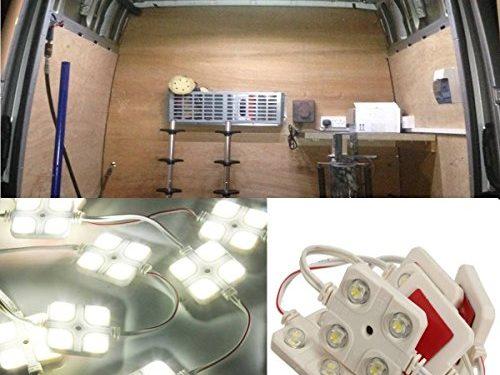 AUDEW 40 Led White Interior Lights Kit For LWB Van Trailer Lorries Sprinter Ducato Transit VW