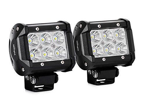 Nilight Led Light Bar 2PCS 18w 4″ Flood Driving Fog Light Off Road Lights Boat Lights driving lights Led Work Light SUV Jeep Lamp,2 years Warranty