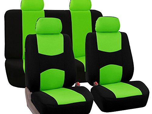 FH Group Universal Fit Full Set Flat Cloth Fabric Car Seat Cover, Green/Black FH-FB050114, Fit Most Car, Truck, Suv, or Van
