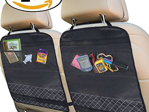 Best Kick Mats with Backseat Organizer Pocket Storage – 100% Waterproof – 2 Pack