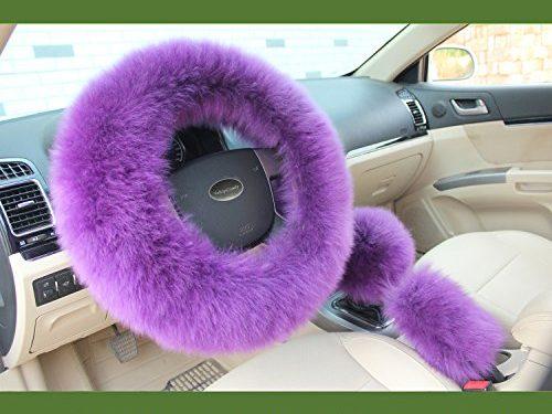 Valleycomfy Fashion Steering Wheel Cover for Women/Girls/Ladies Australia Pure Wool 15 Inch 1 Set 3 Pcs, Purple