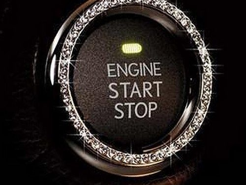 Crystal Rhinestone Car Bling Ring Sticker Emblem, Auto Start Engine Ignition Key & Button Bling, Unique Luxury Gift For Her, By Bling Car Decor TM Silver