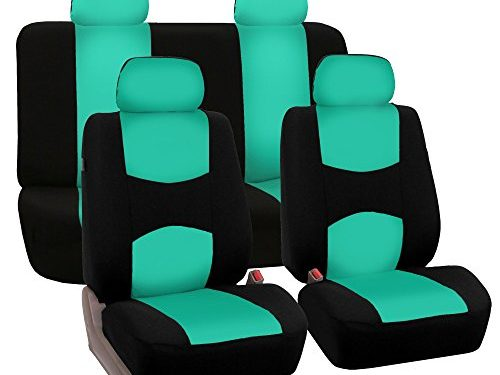 FH Group FB050MINT114 Flat Cloth Full Seat Cover Set w. 4 Detachable Headrests and Solid Bench