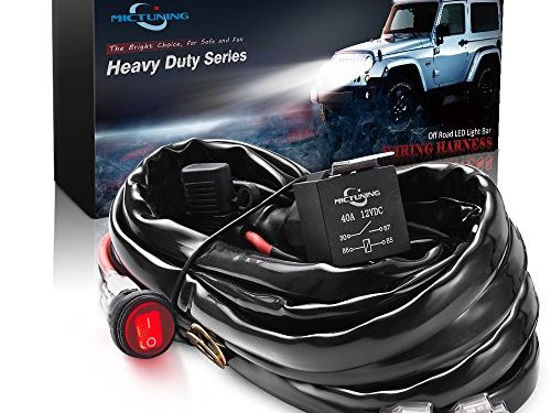 MICTUNING HD+ 12 Gauge 600W LED Light Bar Wiring Harness Kit w/ 40Amp Relay, 3 Free Fuse, On-off Waterproof Switch Red2 Lead 12ft