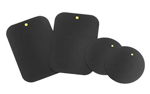 Mount Metal Plate with Adhesive for Magnetic Cradle-less Mount -X4 Pack 2 Rectangle and 2 Round Compatible with Magnetic mounts 4 Pack
