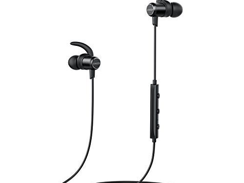 Anker SoundBuds Slim Wireless Headphones, Bluetooth 4.1 Lightweight Stereo Earbuds with Magnetic Connection, NANO Coating Sweatproof Sports Headset with Metallic Housing & Built-in Mic