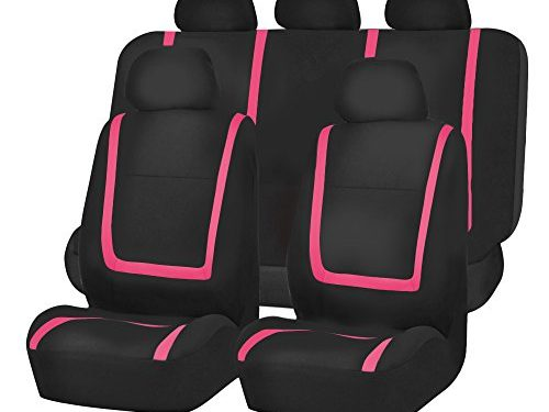 FH GROUP FH-FB032115 Unique Flat Cloth Seat Cover w. 5 Detachable Headrests and Solid Bench Pink / Black- Fit Most Car, Truck, Suv, or Van