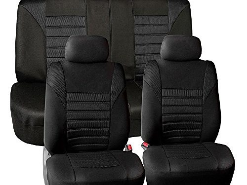 FH GROUP FH-FB068115 Premium 3D Air Mesh Seat Covers Full Set Airbag & Split Ready Solid Black Color- Fit Most Car, Truck, Suv, or Van