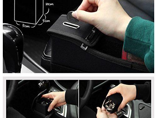KMMOTORS Coin Side Pocket, Console Side Pocket, Car Organizer Black without Cupholder