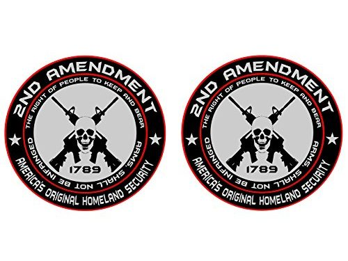 America's Original Homeland Security Round Bumper Sticker Decal 5 Inch – 2x 2nd Amendment