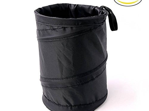 Binboll 2pcs Polyester 190t Vehicle Pop up Leakproof Trash Can Mini Collapsible Universal Fit Car Hanging Bag Hide Unsightly Garbage Bag Black