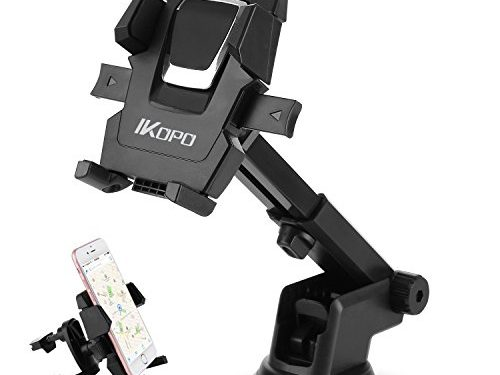 IKOPO 3-in-1 360° Rotating One Touch Car Mount Universal Phone Holder for iPhone 7 Plus 6s Plus SE Samsung Galaxy S8 Edge S7 S6 Note 5Black
