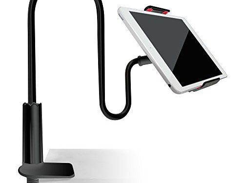 Tablet Cellphone Stand Holder, AFUNTA Gooseneck Lazy Bracket for 4-7.2 Inches iPhone iPad GPS Samsung LG Blackberry Devices,360 Degree Rotating,27.5″ Flexible Arm – Black
