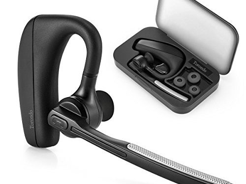New Version Bluetooth Headset,Torondo V4.1 Hand Free Wireless Earpiece Sweatproof Noise Reduction Earbuds with Microphone Crystal Clear Sound for Business/Trukers/Driver Pair with Android Iphone