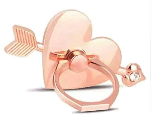 Universal Phone Ring Bracket holder ,UCLL Diamond Love Heart arrow Shape Finger Grip Stand Holder Ring Car Mount Phone Ring Grip Smartphone Ring stent Tablet Rose Gold