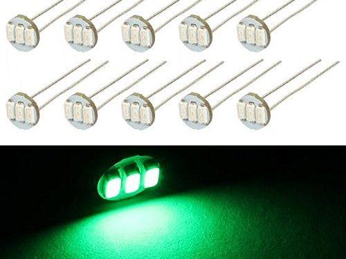 Partsam 10Pcs 4.7mm-12v Car Green Mini Bulbs Lamps Indicator Cluster Speedometer Backlight Lighting For GM GMC