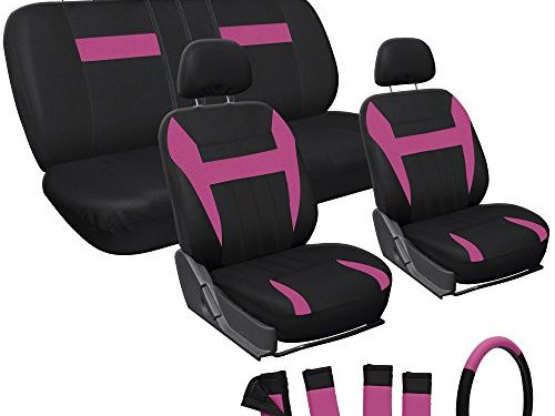 OxGord 17pc Set Flat Cloth Mesh Auto Pink Black Seat Cover Set-Airbag-Front Low Buckets-50-50 or 60-40 Rear Split Bench-5 Head Rests-Universal Fit for Car, Truck, Suv, or Van-Steering Wheel Cover