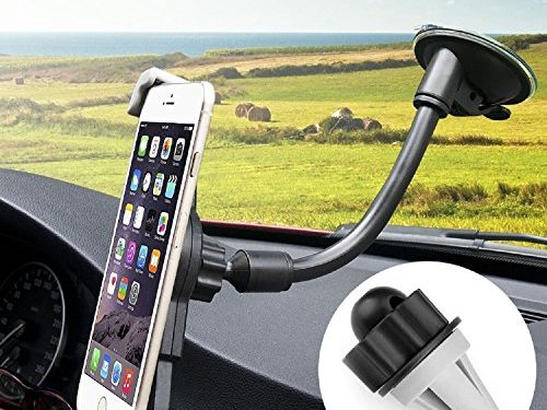 CARPRO 3-in-1 Universal Smartphones Car Mount Holder Cradle Cell Phone Holder Air Vent Mount for iPhone 7 Plus 6 6S Plus 5S 5 4S 4 SE Samsung Galaxy S7 Edge S6 S5 LG Nexus and More-Black