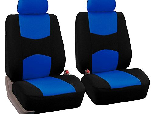 FH Group Universal Fit Flat Cloth Pair Bucket Seat Cover Blue/Black FH-FB050102, Fit Most Car, Truck, Suv, or Van
