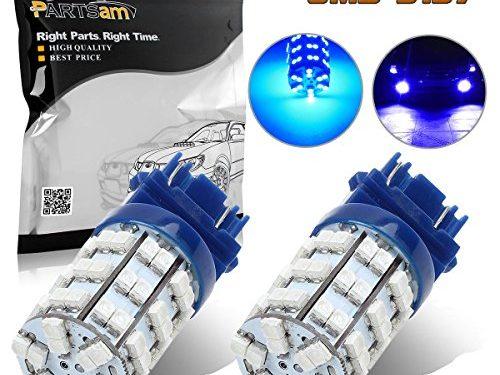 Partsam 1Pair Blue 3156 3157 Backup Reverse Light 3357 4057 3155 3456 P27W Daytime Running Light Bulbs Ultra Bright 60-3528-SMD Led