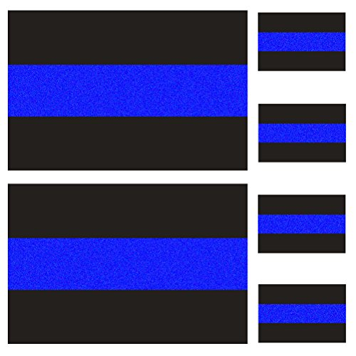 reflective police thin blue line bumper decals 2 pack 4 x 2 6 license plate stickers 4 pack. Black Bedroom Furniture Sets. Home Design Ideas