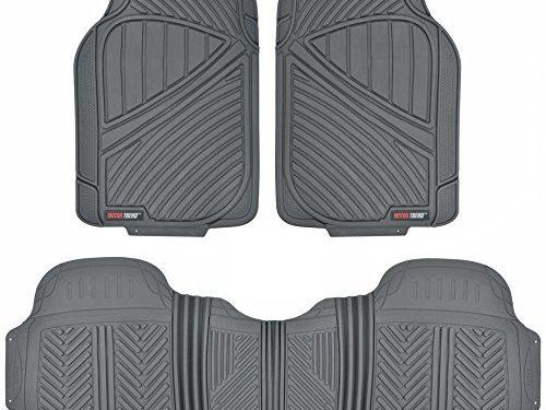 MotorTrend FlexTough Baseline – Heavy Duty Rubber Floor Mats, 100% Odorless & BPA Free Gray