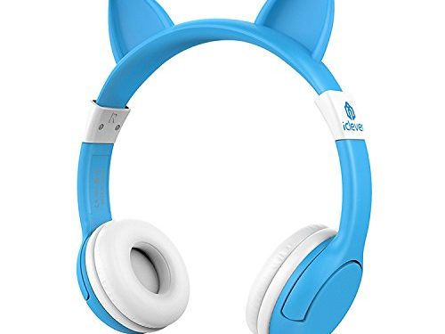 iClever BoostCare Wired Kids Headphones Cat-inspired Over the Ear Headsets with 85 Volume Limited, Food Grade Silicon MaterialHS07, Blue