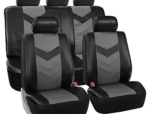 FH GROUP FH-PU021115 Synthetic Leather Full Set Auto Seat Covers, Gray Black Color – Fit Most Car, Truck, Suv, or Van