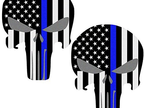 Reflective Punisher Skull 5.5 x 4.1 inch & US flag Decals with Thin Blue Line for Cars & Trucks, American USA Flag Decal Sticker Honoring Police Law Enforcement Window Bumper Vinyl Stickers 2-PACK