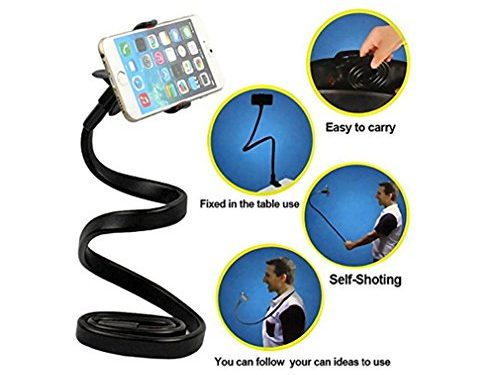 E-More Cell Phone Holder, 360 Degree Rotation Flexible Long Arms Mobile Phone Holder Desktop Bed Car Lazy Bracket Mobile Stand Support All Mobiles for Iphone /Samsung /Htc Ect Black