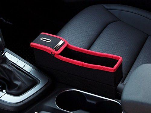 KMMOTORS Coin Side Pocket, Console Side Pocket, Car Organizer Red without Cupholder