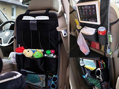2 Pack 9-in-1 Universal Design Car Backseat Organizer Storage Bags Black Grey