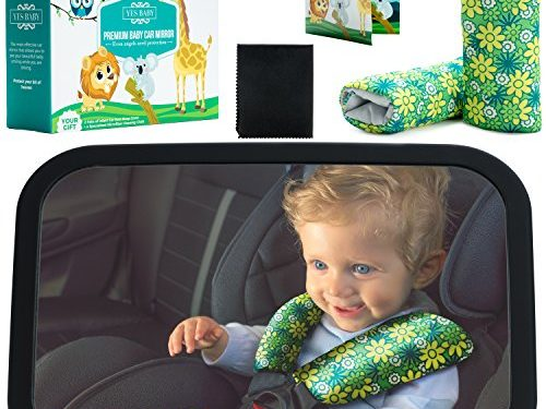 Crash-tested – Fully Assembled & Adjustable – Baby Car Mirror Bundle – The Safest & Largest Baby Mirror – Best Baby Backseat Mirror for your child – Baby Mirror for Car Rear-Facing Infant and Sight