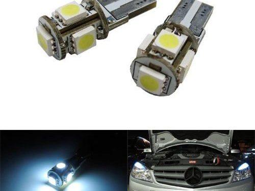 iJDMTOY 5-SMD Error Free 2825 W5W LED Bulbs For European Cars Parking Lights, Xenon White