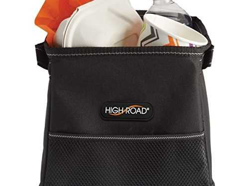 High Road StableMate Compact Leakproof Covered Car Trash Can Black