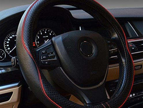Black & Red Line – Rueesh Steering Wheel Cover – Genuine Leather, Heavy Duty, Thick, Elegant, Anti-Slip, 15 inch Middle Size