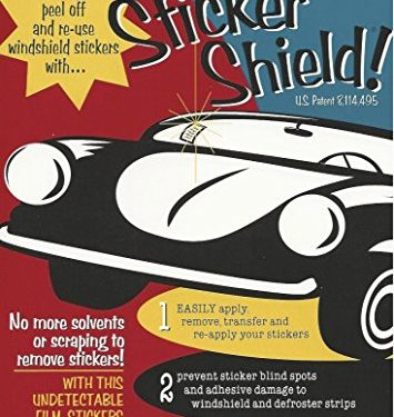 STICKER SHIELD – 4 inch x 6 inch sheets Pack of 2 Sheets – Windshield Sticker Applicator For Easy Application, Removal and Re-application From Car to Car
