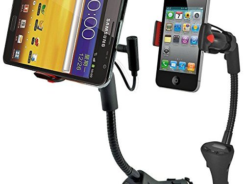 Car Mount, Alpatronix MX100 Universal Charging Dock Station with FM Transmitter, USB Charger Port & 360° Degree Rotating Gooseneck Holder for iPhones, Samsung Galaxy & Other Smartphones – Black